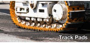 slide track pads excavator close up